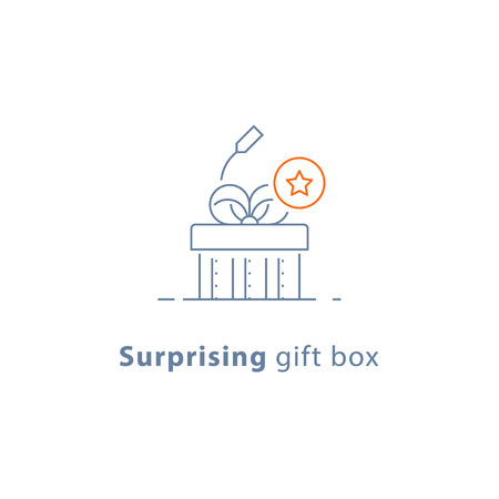 Surprising gift, prize give away, creative present, fun experience, unusual gift idea concept, line design icon, vector illustration Illustration