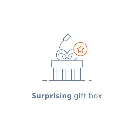 Surprising gift, prize give away, creative present, fun experience, unusual gift idea concept, line design icon, vector illustration Illusztráció