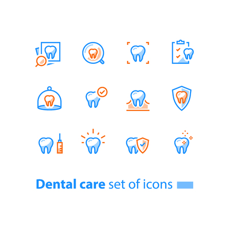 Dental care, prevention check up, hygiene and treatment, stomatology services, tooth and checklist, vector line icon set, linear design