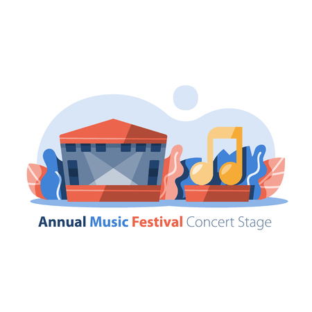 Outdoor concert stage with gabled roof, music festival, entertainment performance, festive event arrangement, vector icon, flat design illustration