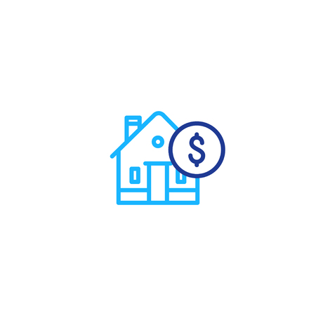 Real estate concept, house and coin mono line icon, mortgage money, home payment and insurance, living expenses vector