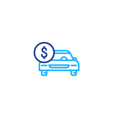 Car payment, front view, transportation cost, buy and sell services, vector mono line icon