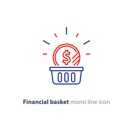 Financial basket, budget planning, fund rising, savings account, dollar coin, investment strategy concept, income growth, cash back, vector mono line icon Vector Illustration