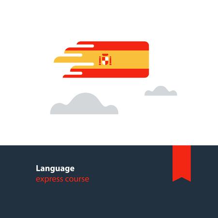Spanish lenguage flag icon and logo. linguistics class, exchange concept. Flat design vector illustration