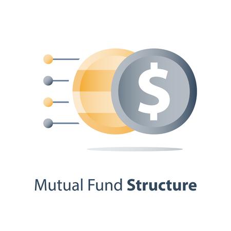 Investmentfondsstruktur, Vermögensdiversifikation, Investmentfondskonzept, Finanzlösung, Börsenportfolio, Hedgefondszusammensetzung, Kapitalkonsolidierung, Wertverteilung, Vektorsymbol
