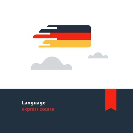 German language class concept icon set and flag logo, language exchange program, forum and international communication sign. Flat design vector illustration Logo