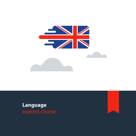 British english language class concept icon set and flag logo, language exchange program, forum and international communication sign. Flat design vector illustration Illustration