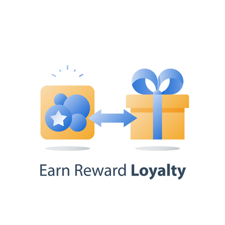 Earn points, loyalty program, collect bonus tokens, reward gift, present box, redeem prize, perks concept, vector icon, flat illustration
