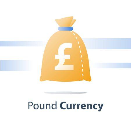 Geldsack, Pfund-Währungstasche, schnelles Darlehen, einfaches Bargeld, Finanzfonds, Vektorsymbol