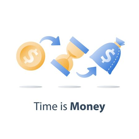 Pension fund, long term investment, hourglass and bag, time is money, fast cash loan, easy money, capital growth, asset allocation, financial value increase, future planning, vector icon