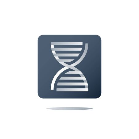 DNA testing, genetic spiral, medical test, health care, genealogical analysis services, personalized medicine concept, science and innovation, education and research, vector icon, flat illustration Illustration