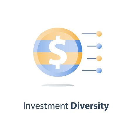 Investment fund structure, asset diversification, mutual fund concept, financial solution, stock market portfolio, hedge fund composition, capital consolidation, value distribution, vector icon