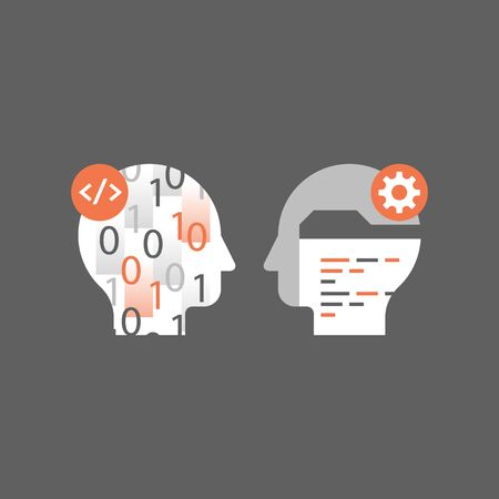 Learn coding, programming language, technology and innovation, falling numbers, software development, vector icon, flat illustration