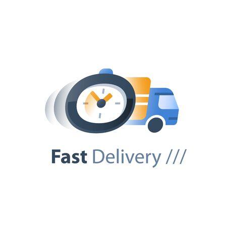 Servizi di consegna rapida, società di logistica, periodo di attesa, ritardo dell'ordine, spostamento del camion, spedizione espressa dell'ordine, icona piatta vettoriale