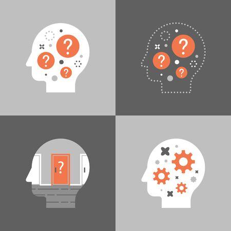 Kopf und Fragezeichen, Entscheidungsfindung, kritisches Denken, Brainstorming-Konzept, Psychologie oder Psychiatrie, ein Quiz machen, Vektorsymbol, flache Illustration