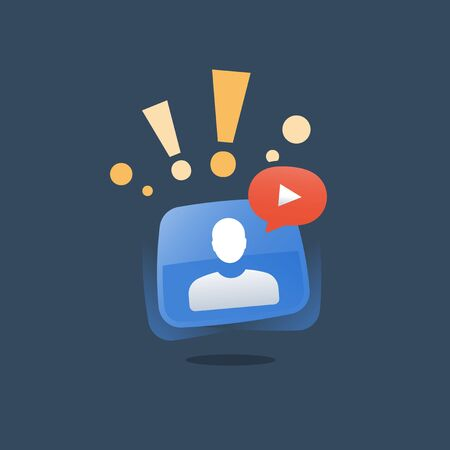 Webinar concept, online education course, internet seminar, distant guidance, web tutorial and resources, video call, vector icon, flat illustration