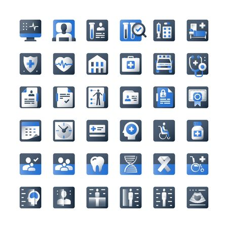 Big medical icon set, large healthcare collection, health check up and therapy, medicine concept, vector symbols, flat design