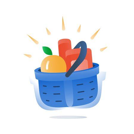 Cesta azul completa de productos, servicio de entrega rápida de la tienda de comestibles, oferta especial, suministro de alimentos frescos de supermercado, compra de la mejor oferta, selección esencial de artículos, icono de vector, ilustración plana