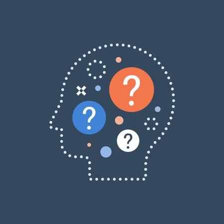 Processo decisionale, scelta difficile, scienza del comportamento, autointerrogazione, brainstorming e concetto di curiosità, neurologia, icona vettoriale, illustrazione piatta Vettoriali