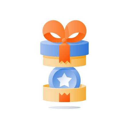 Yellow reward gift, open present box, loyalty program, earn points, collect bonus, redeem special prize, wonder box, vector icon, flat illustration Vetores