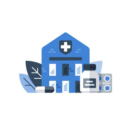 Medicine and health care, medication concept, stationary therapy, disease treatment, rehabilitation center, drugs rehab, hospice concept, vector icon, flat illustration