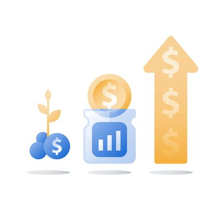 Glass jar and coins, savings account, return on investment, financial fund, long term money deposit, capital growth, income increase, compound interest, vector icon, flat illustration