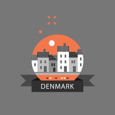 Denmark travel destination, Copenhagen row of houses by water, Nyhavn street with canal, famous landmark, old town, tourism in Europe, danish architecture, vector icon, flat illustration