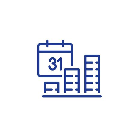 Fund growth, financial performance period report concept, interest rate, income growth, profit boost, return on investment, long term planning, finance calendar date, revenue increase vector line icon