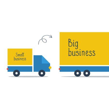 Comparaison ou agrandissement de la taille de l'entreprise. Service de livraison par camion, entreprise de transport logistique, illustration vectorielle