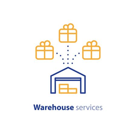 Wholesale warehouse distribution center concept, delivery chain solution and storage services elements, shipping multiple order line icon, combined parcel outline vector Illustration