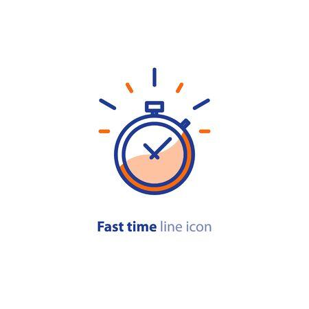 Tempo veloce, concetto di velocità del cronometro, consegna rapida, servizi espressi e urgenti, scadenza e ritardo, icona della linea vettoriale