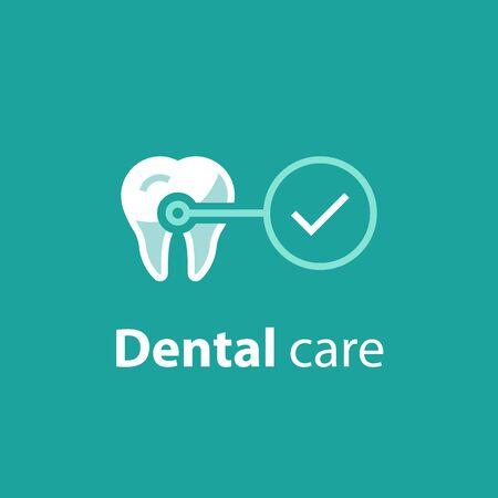 Cure dentistiche, controllo di prevenzione, igiene e trattamento, servizi di stomatologia, set di icone vettoriali Vettoriali