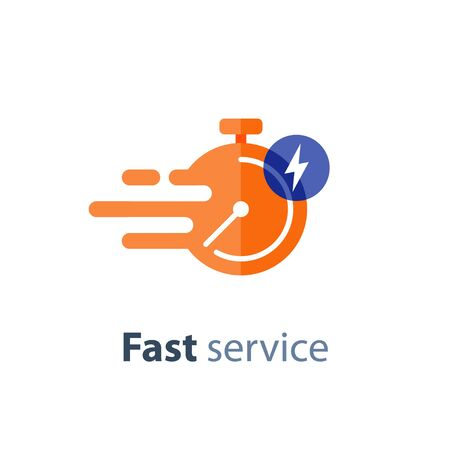 Fast time delivery icon, timely service, stopwatch in motion, deadline concept, vector flat illustration