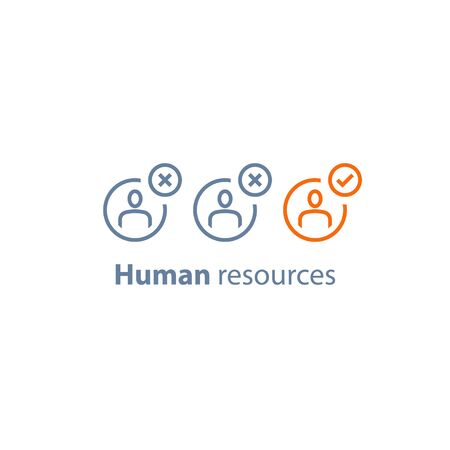 Recruitment service, human resources,  choose candidate, fill vacancy, employment concept, vector line icon, thin stroke Illustration