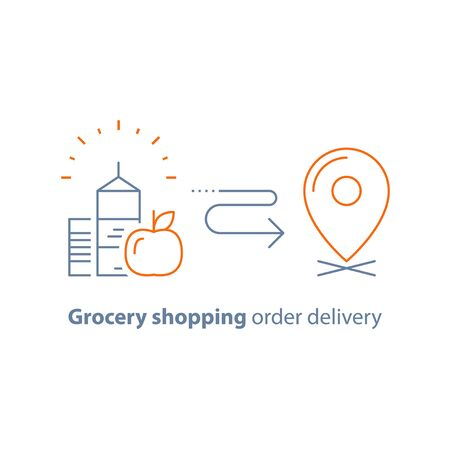 Grocery food and drink, shopping order delivery, vector line icon, thin stroke Illustration