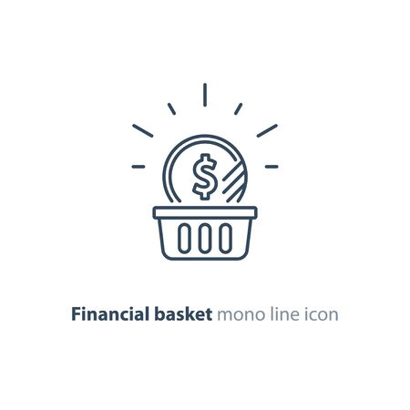 Financial basket, budget planning, fund rising, savings account, dollar coin, investment strategy concept, income growth, cash back, vector mono line icon
