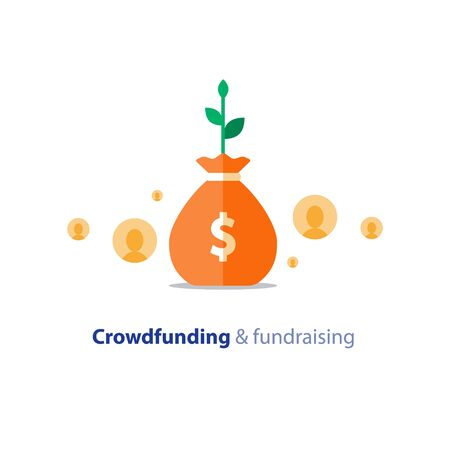 Crowdfunding project, fundraising campaign, money donation, charity fund, money bag, income growth, vector flat icon