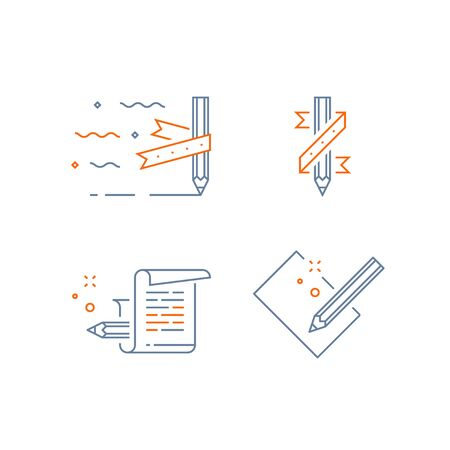 Creative writing, storytelling concept, pencil and paper, copywriting, vector line icon set Illustration