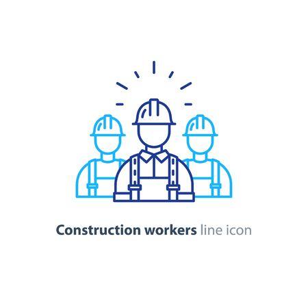Operai edili in elmetto e tuta, costruttori in uniforme, uomo dell'appaltatore, lavoro manuale, illustrazione vettoriale monolinea Vettoriali
