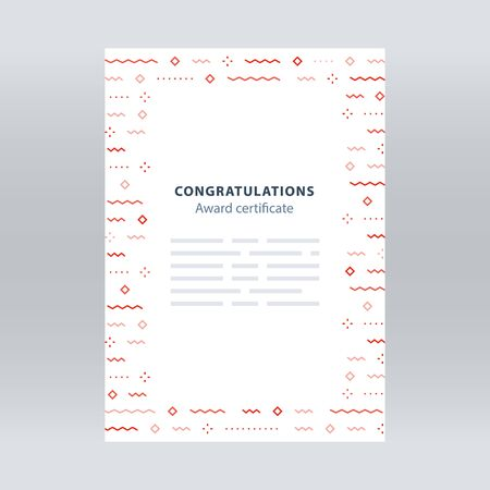 Award certificate, border with falling confetti pattern, abstract background, minimalist festive decoration, celebration backdrop concept, vector line illustration Illustration