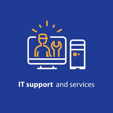 Computer repairman, maintenance services, IT support concept, software installation, system administration, desktop upgrade and update, vector line icon Illustration