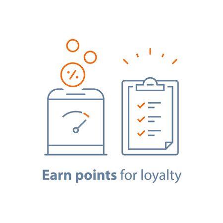 Earn points, loyalty program, donation box,financial security, fund raising, vector line icon, thin stroke illustration