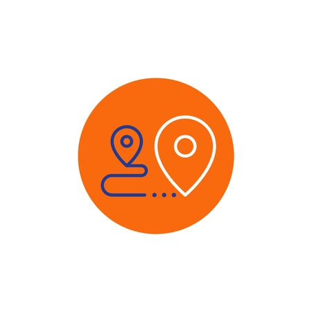 Shipping order and delivery services, relocation concept, transportation company elements, distribution line icon, tracking parcel outline vector