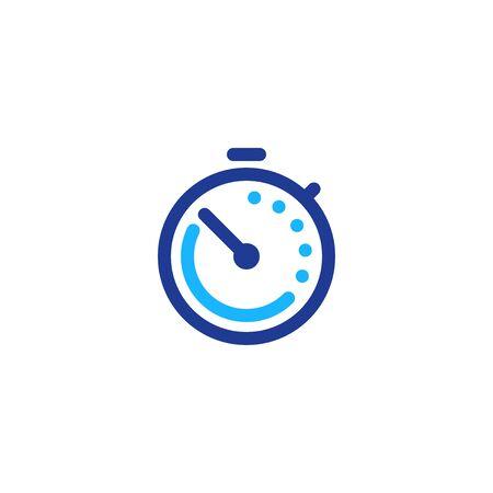 Tiempo rápido, símbolo de cronómetro, concepto de período de tiempo, horas de trabajo, entrega rápida oportuna, servicios urgentes y urgentes, fecha límite y demora, icono de línea vectorial Ilustración de vector