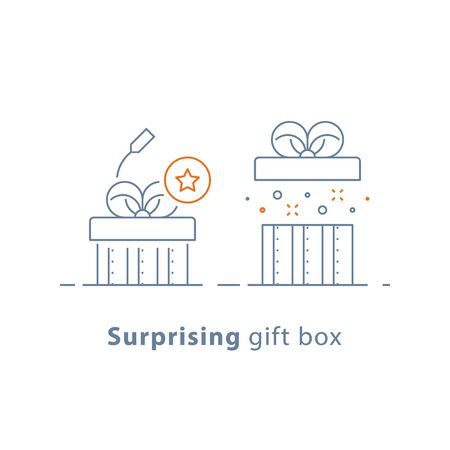 Surprising gift, prize give away, creative present, fun experience, unusual gift idea concept, opened box, line design icon, vector illustration