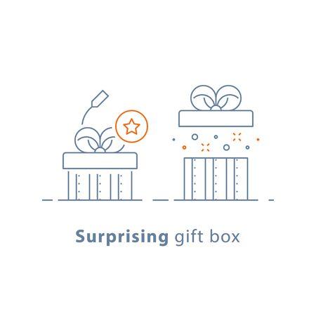 Verrassend cadeau, prijs weggeven, creatief cadeau, leuke ervaring, ongebruikelijk cadeau idee concept, geopende doos, lijn ontwerp pictogram, vectorillustratie