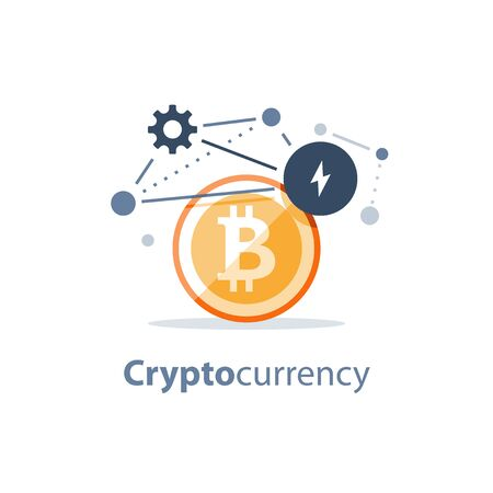 Cryptocurrency technology, bitcoin investment, financial innovations, digital money concept, vector illustration, flat icon