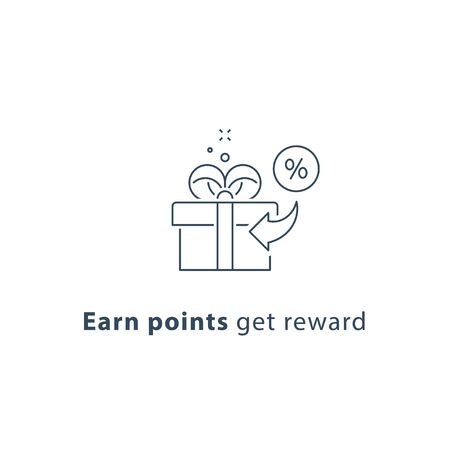 Earn points and get reward, loyalty program, give away concept, incentive gift, vector line icon, thin stroke illustration