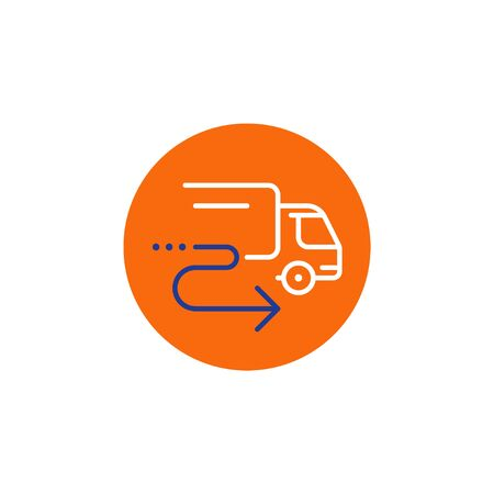 Truck delivery services, fast relocation, transportation company elements, shipping order, distribution line icon, tracking parcel outline vector