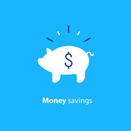 Piggy bank concept, long term investment, savings account deposit, pension fund money, financial planning, vector flat icon Illustration